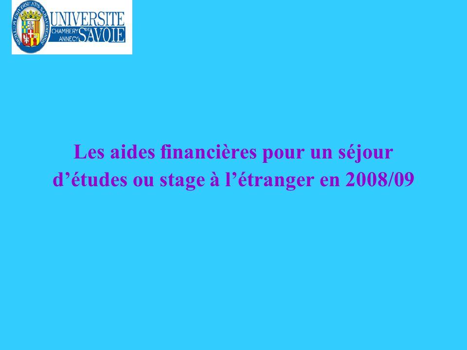 Les aides financières pour un séjour détudes ou stage à létranger en 2008/09
