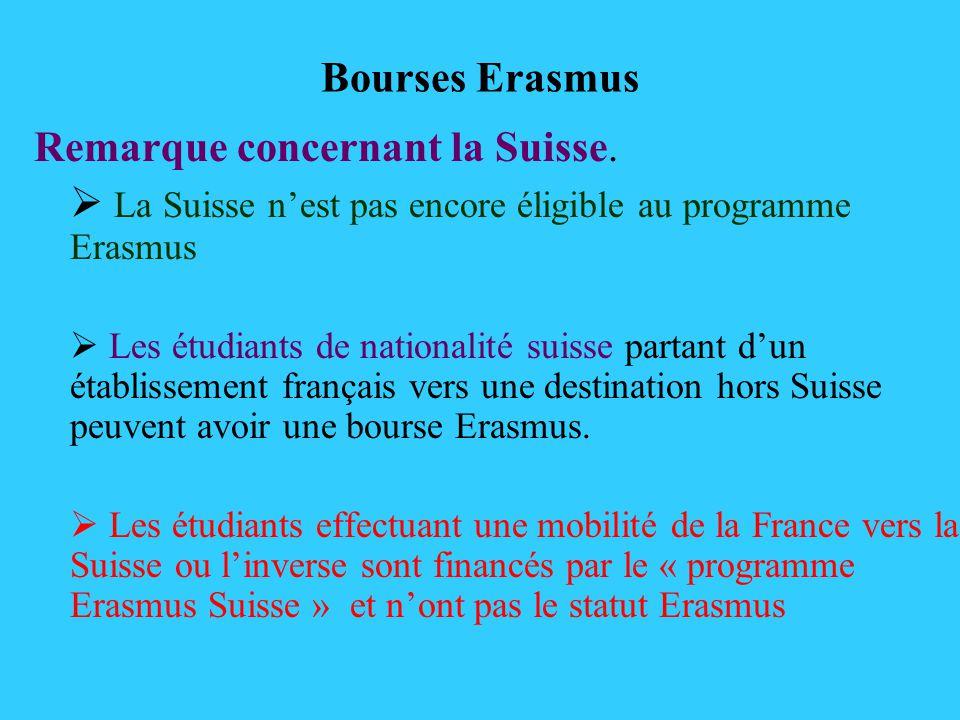 Bourses Erasmus Remarque concernant la Suisse. La Suisse nest pas encore éligible au programme Erasmus Les étudiants de nationalité suisse partant dun