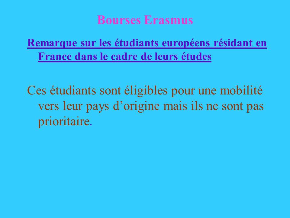 Bourses Erasmus Remarque sur les étudiants européens résidant en France dans le cadre de leurs études Ces étudiants sont éligibles pour une mobilité vers leur pays dorigine mais ils ne sont pas prioritaire.