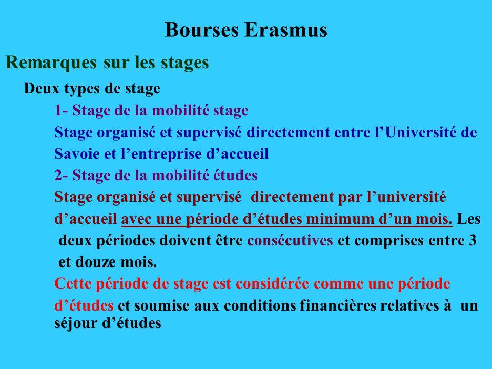 Bourses Erasmus Remarques sur les stages Deux types de stage 1- Stage de la mobilité stage Stage organisé et supervisé directement entre lUniversité de Savoie et lentreprise daccueil 2- Stage de la mobilité études Stage organisé et supervisé directement par luniversité daccueil avec une période détudes minimum dun mois.