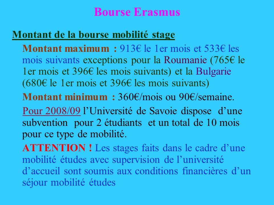 Bourse Erasmus Montant de la bourse mobilité stage Montant maximum : 913 le 1er mois et 533 les mois suivants exceptions pour la Roumanie (765 le 1er mois et 396 les mois suivants) et la Bulgarie (680 le 1er mois et 396 les mois suivants) Montant minimum : 360/mois ou 90/semaine.