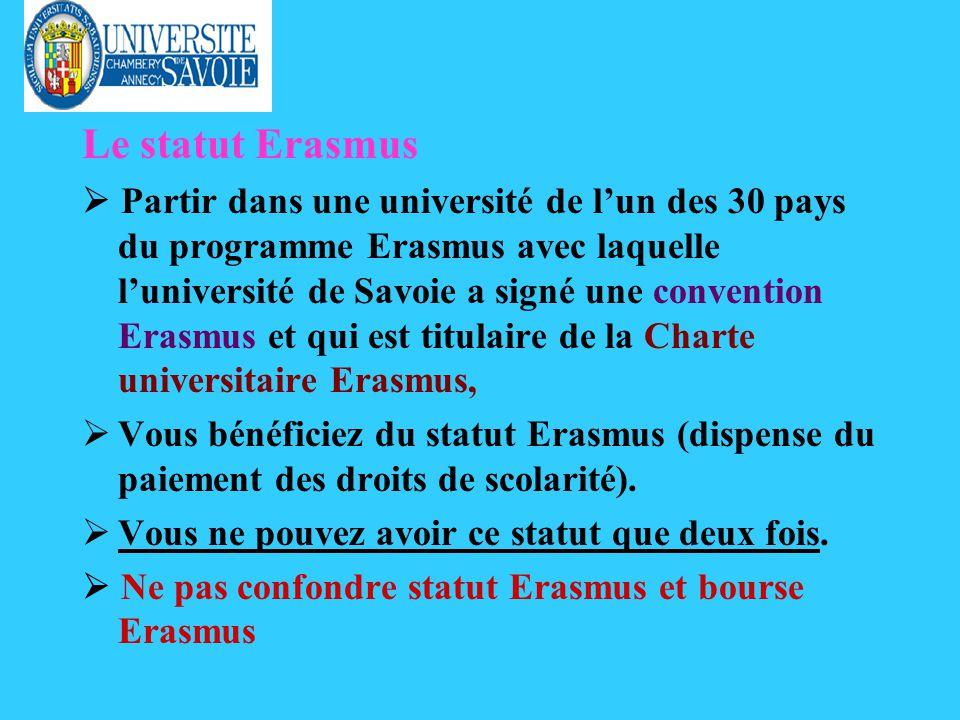 Le statut Erasmus Partir dans une université de lun des 30 pays du programme Erasmus avec laquelle luniversité de Savoie a signé une convention Erasmus et qui est titulaire de la Charte universitaire Erasmus, ØVous bénéficiez du statut Erasmus (dispense du paiement des droits de scolarité).
