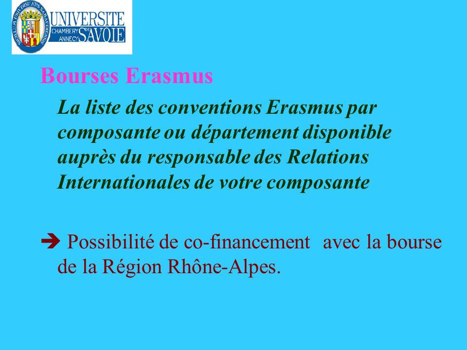 Bourses Erasmus La liste des conventions Erasmus par composante ou département disponible auprès du responsable des Relations Internationales de votre composante Possibilité de co-financement avec la bourse de la Région Rhône-Alpes.