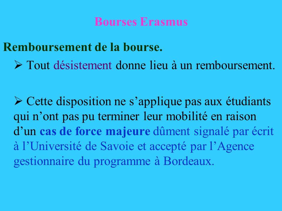 Bourses Erasmus Remboursement de la bourse. Tout désistement donne lieu à un remboursement. Cette disposition ne sapplique pas aux étudiants qui nont