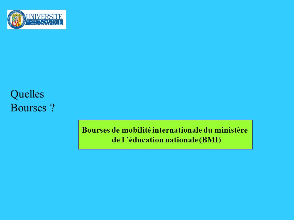 Quelles Bourses ? Bourses de mobilité internationale du ministère de l éducation nationale (BMI)