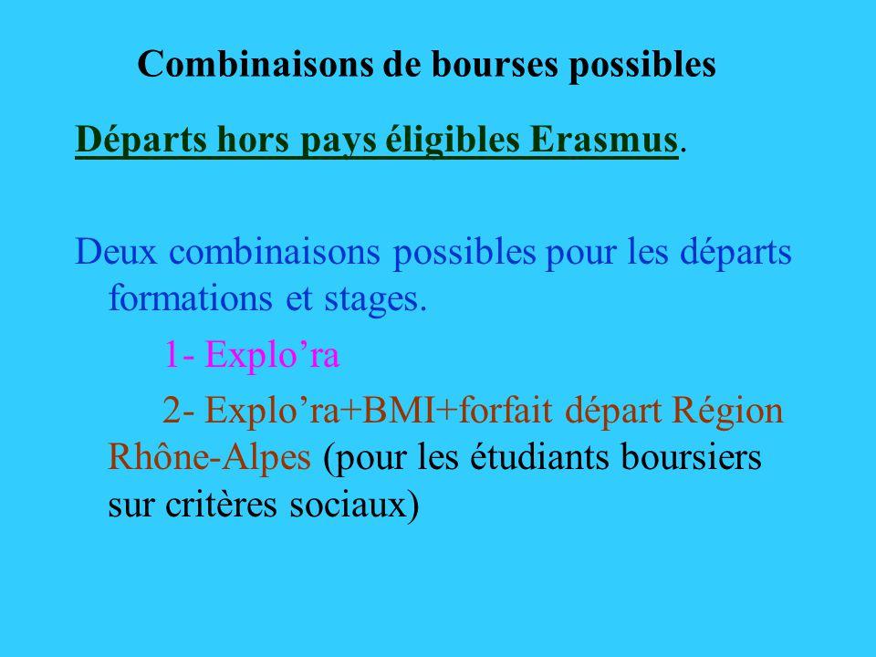 Combinaisons de bourses possibles Départs hors pays éligibles Erasmus. Deux combinaisons possibles pour les départs formations et stages. 1- Explora 2