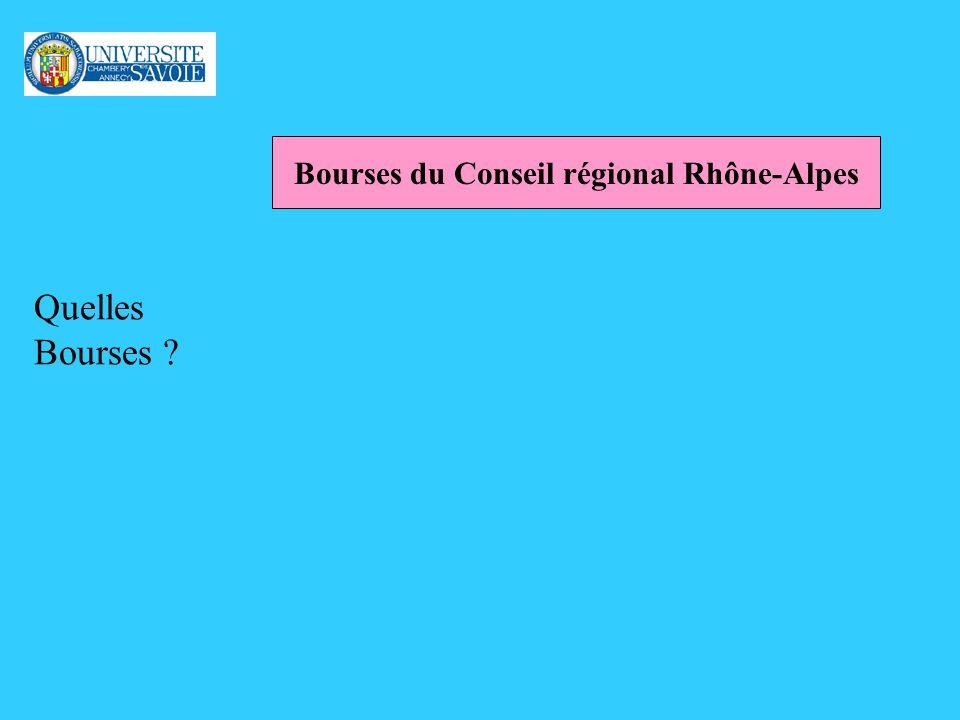 Quelles Bourses ? Bourses du Conseil régional Rhône-Alpes