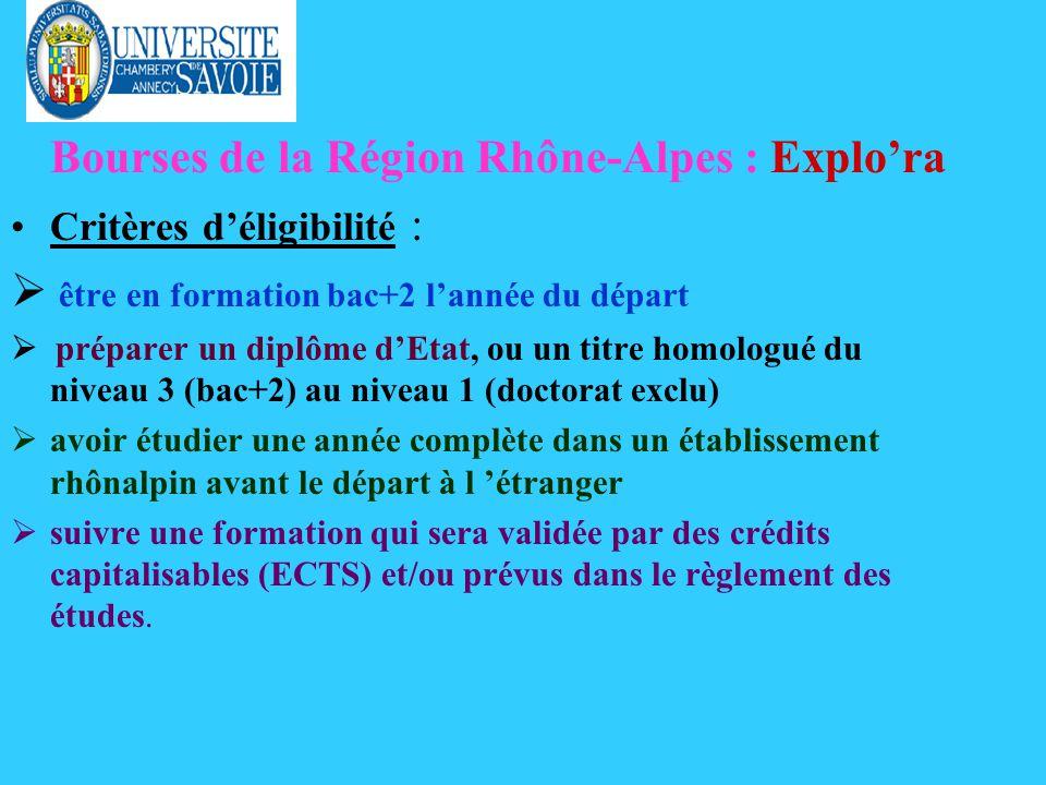 Bourses de la Région Rhône-Alpes : Explora Critères déligibilité : être en formation bac+2 lannée du départ préparer un diplôme dEtat, ou un titre homologué du niveau 3 (bac+2) au niveau 1 (doctorat exclu) avoir étudier une année complète dans un établissement rhônalpin avant le départ à l étranger suivre une formation qui sera validée par des crédits capitalisables (ECTS) et/ou prévus dans le règlement des études.