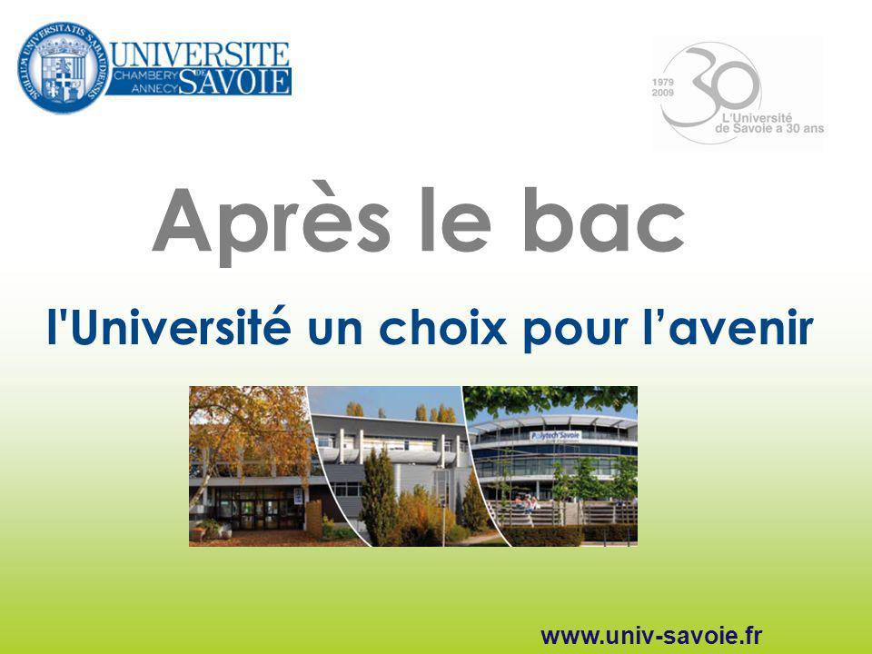 Après le bac l'Université un choix pour lavenir www.univ-savoie.fr