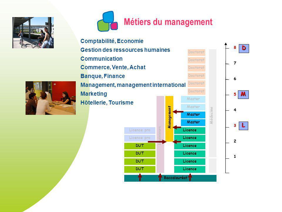 Métiers du management DUT Licence Master Licence pro Doctorat Licence pro Ingénieurs Management Doctorat Médecine Baccalauréat 1 2 3 4 5 6 7 8 1 2 3 4