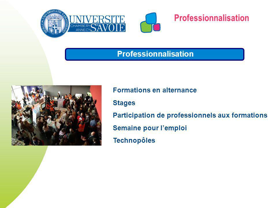 Formations en alternance Stages Participation de professionnels aux formations Semaine pour lemploi Technopôles Professionnalisation