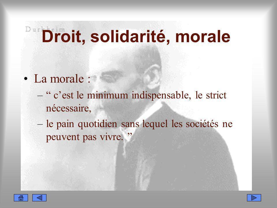Droit, solidarité, morale La morale : – cest le minimum indispensable, le strict nécessaire, –le pain quotidien sans lequel les sociétés ne peuvent pa