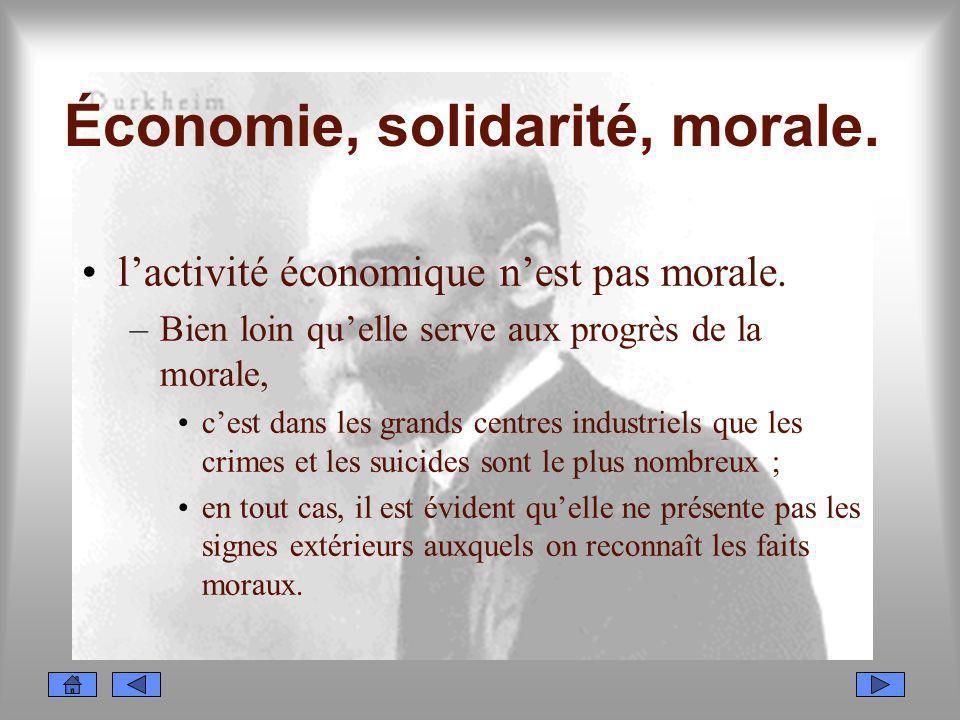 Économie, solidarité, morale. lactivité économique nest pas morale. –Bien loin quelle serve aux progrès de la morale, cest dans les grands centres ind