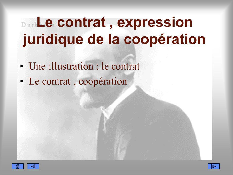 Le contrat, expression juridique de la coopération Une illustration : le contrat Le contrat, coopération