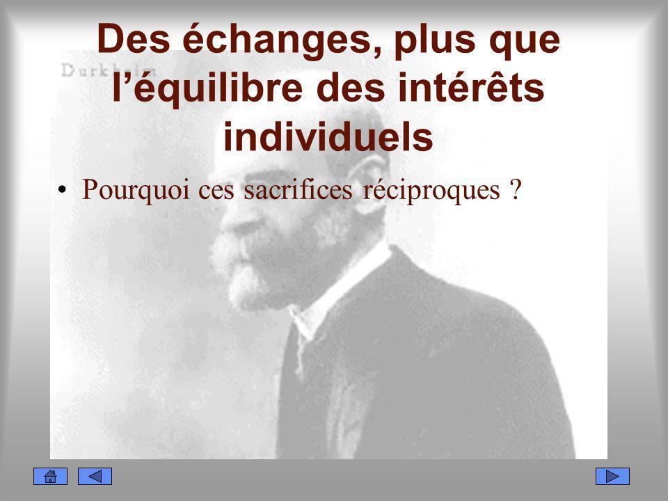 Des échanges, plus que léquilibre des intérêts individuels Pourquoi ces sacrifices réciproques ?