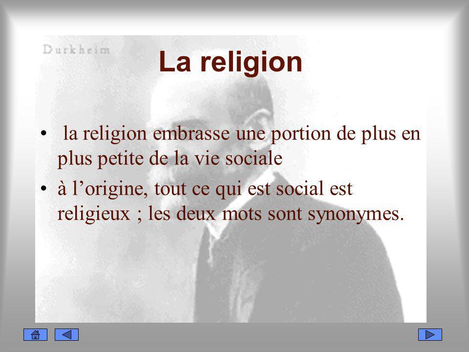 La religion la religion embrasse une portion de plus en plus petite de la vie sociale à lorigine, tout ce qui est social est religieux ; les deux mots