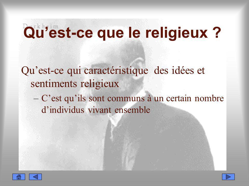 Quest-ce que le religieux ? Quest-ce qui caractéristique des idées et sentiments religieux –Cest quils sont communs à un certain nombre dindividus viv