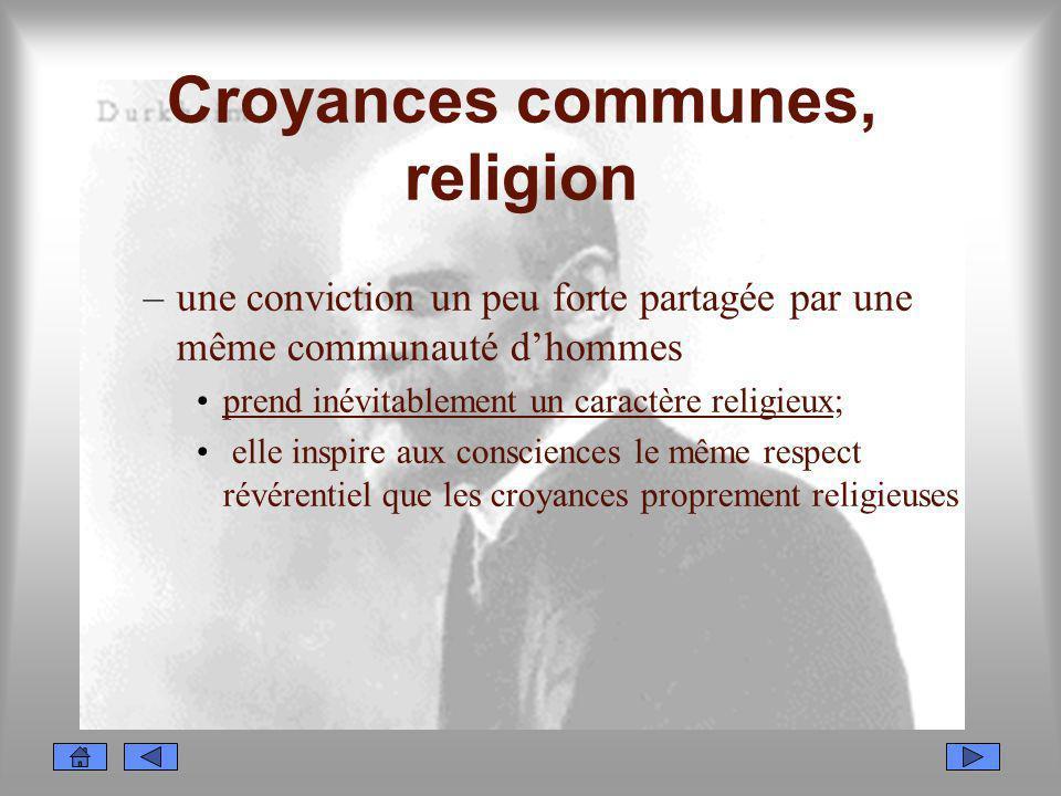 Croyances communes, religion –une conviction un peu forte partagée par une même communauté dhommes prend inévitablement un caractère religieux; elle i