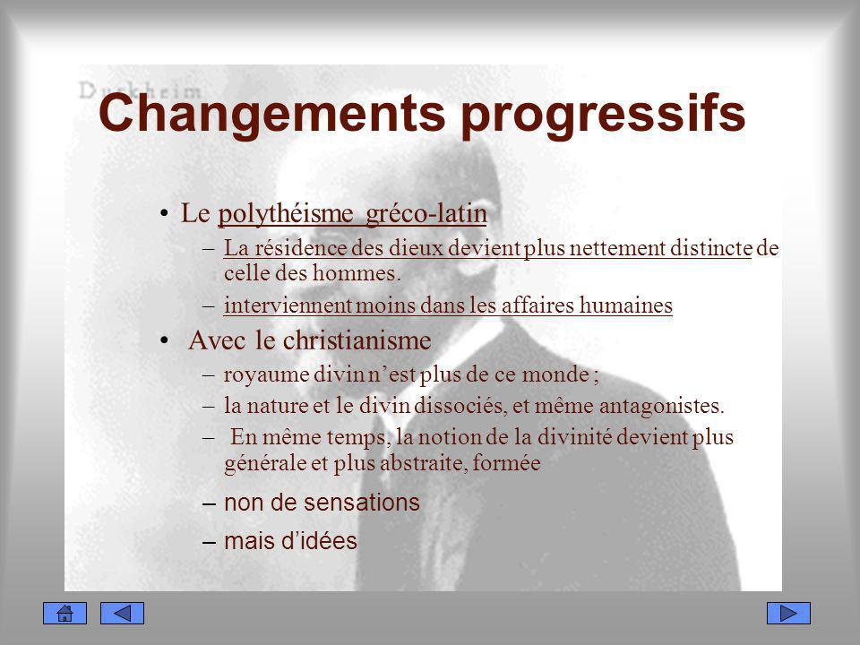 Changements progressifs Le polythéisme gréco-latin –La résidence des dieux devient plus nettement distincte de celle des hommes. –interviennent moins