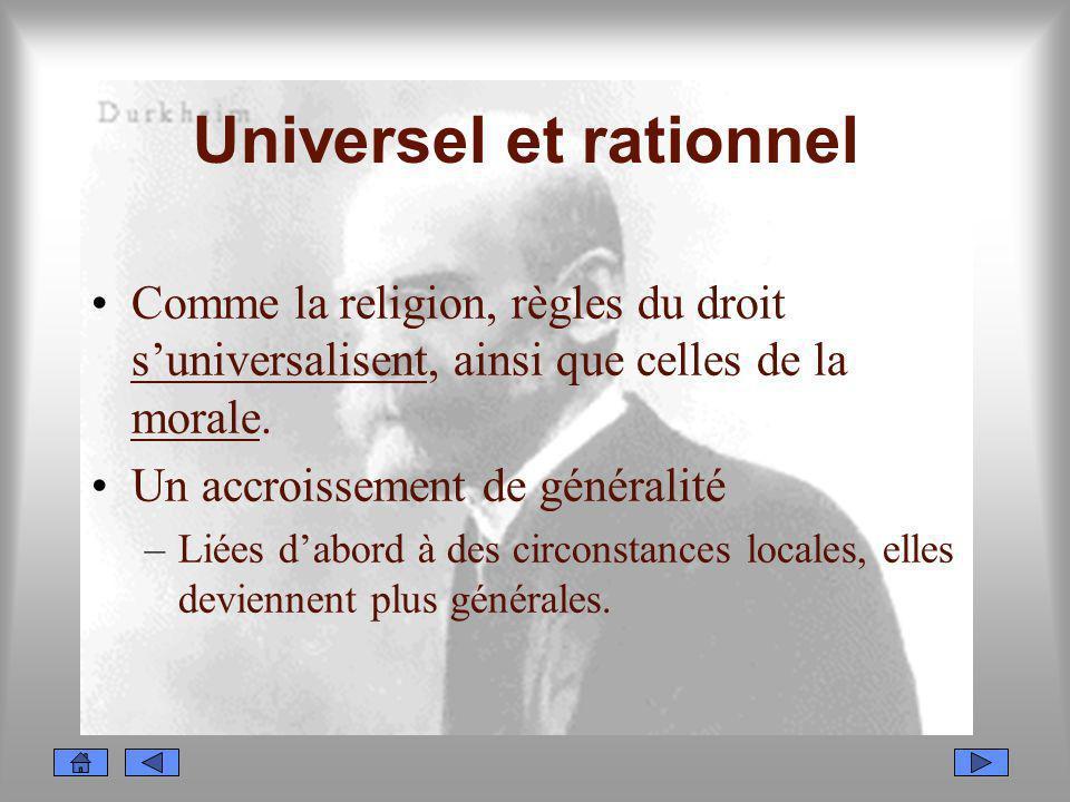 Universel et rationnel Comme la religion, règles du droit suniversalisent, ainsi que celles de la morale. Un accroissement de généralité –Liées dabord