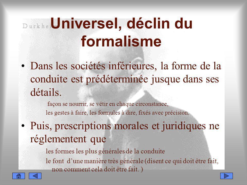 Universel, déclin du formalisme Dans les sociétés inférieures, la forme de la conduite est prédéterminée jusque dans ses détails. façon se nourrir, se