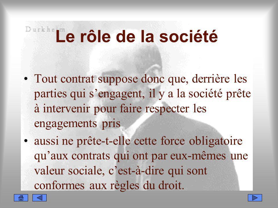 Le rôle de la société Tout contrat suppose donc que, derrière les parties qui sengagent, il y a la société prête à intervenir pour faire respecter les