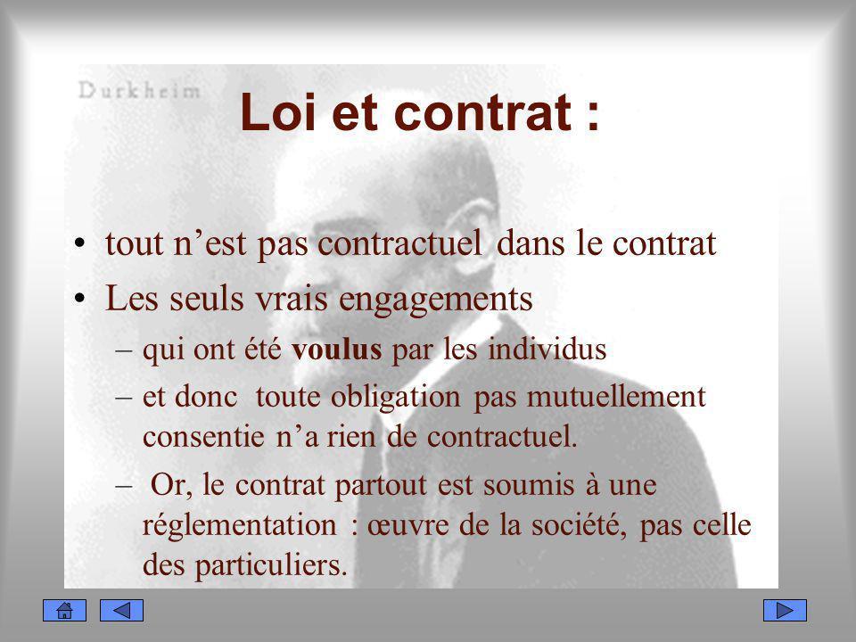Loi et contrat : tout nest pas contractuel dans le contrat Les seuls vrais engagements –qui ont été voulus par les individus –et donc toute obligation