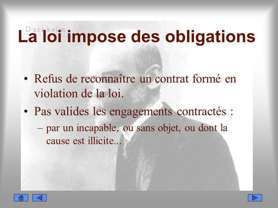 La loi impose des obligations Refus de reconnaître un contrat formé en violation de la loi. Pas valides les engagements contractés : –par un incapable