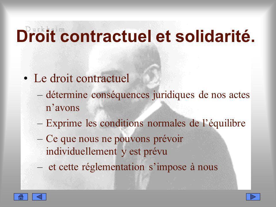Droit contractuel et solidarité. Le droit contractuel –détermine conséquences juridiques de nos actes navons –Exprime les conditions normales de léqui