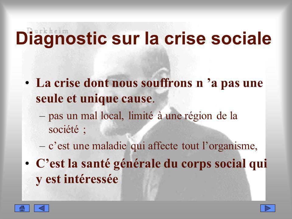 Diagnostic sur la crise sociale La crise dont nous souffrons n a pas une seule et unique cause. –pas un mal local, limité à une région de la société ;