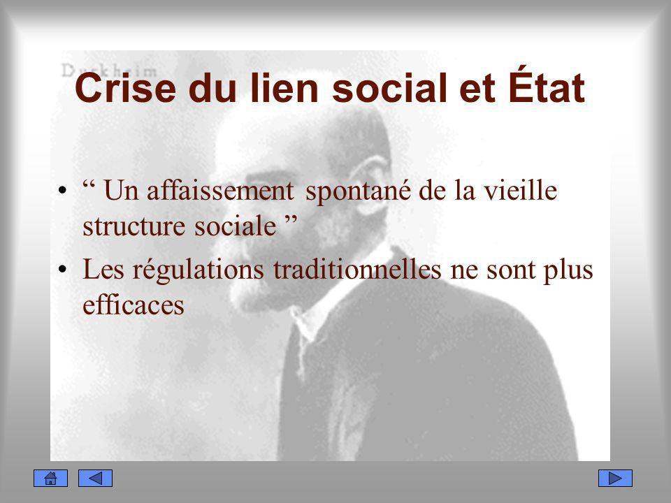 Crise du lien social et État Un affaissement spontané de la vieille structure sociale Les régulations traditionnelles ne sont plus efficaces