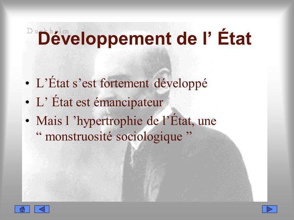 Développement de l État LÉtat sest fortement développé L État est émancipateur Mais l hypertrophie de lÉtat, une monstruosité sociologique