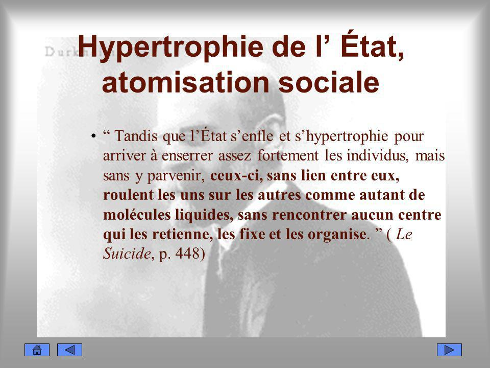 Hypertrophie de l État, atomisation sociale Tandis que lÉtat senfle et shypertrophie pour arriver à enserrer assez fortement les individus, mais sans