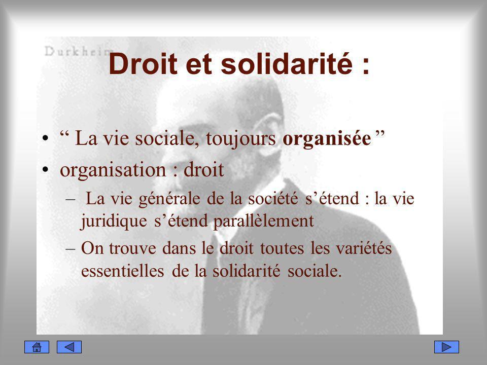Droit et solidarité : La vie sociale, toujours organisée organisation : droit – La vie générale de la société sétend : la vie juridique sétend parallè