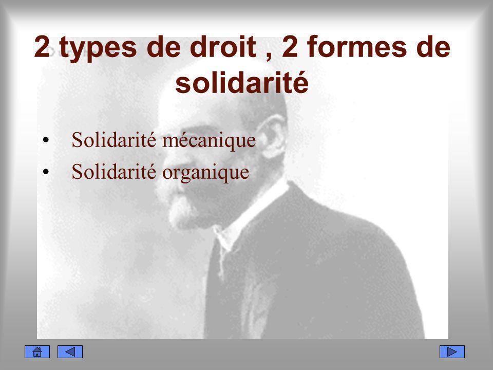 2 types de droit, 2 formes de solidarité Solidarité mécanique Solidarité organique