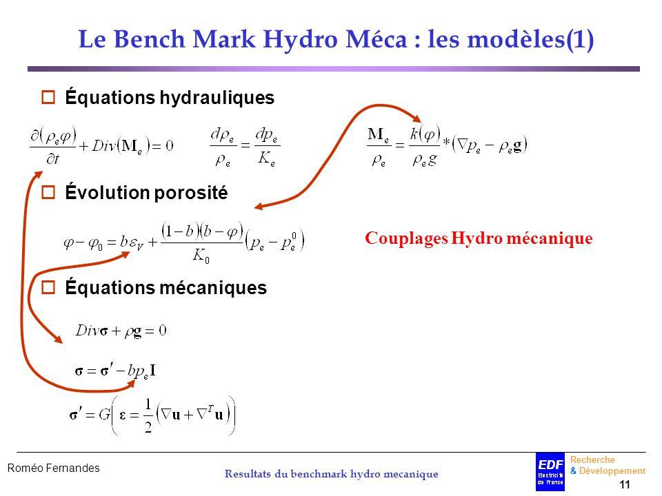 Roméo Fernandes Recherche & Développement 11 Resultats du benchmark hydro mecanique Le Bench Mark Hydro Méca : les modèles(1) Équations hydrauliques É