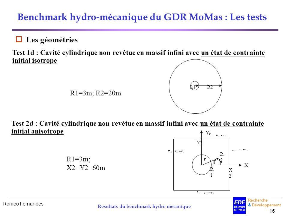 Roméo Fernandes Recherche & Développement 15 Resultats du benchmark hydro mecanique Benchmark hydro-mécanique du GDR MoMas : Les tests Les géométries