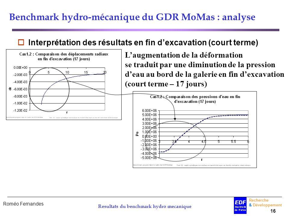 Roméo Fernandes Recherche & Développement 16 Resultats du benchmark hydro mecanique Benchmark hydro-mécanique du GDR MoMas : analyse Interprétation de