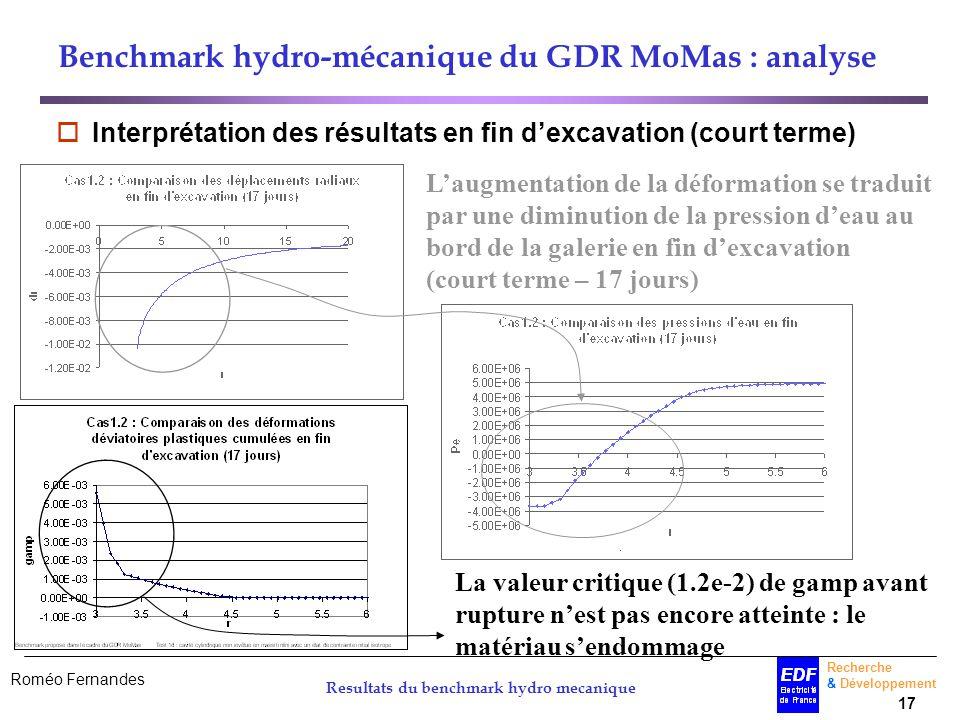 Roméo Fernandes Recherche & Développement 17 Resultats du benchmark hydro mecanique Benchmark hydro-mécanique du GDR MoMas : analyse Interprétation de