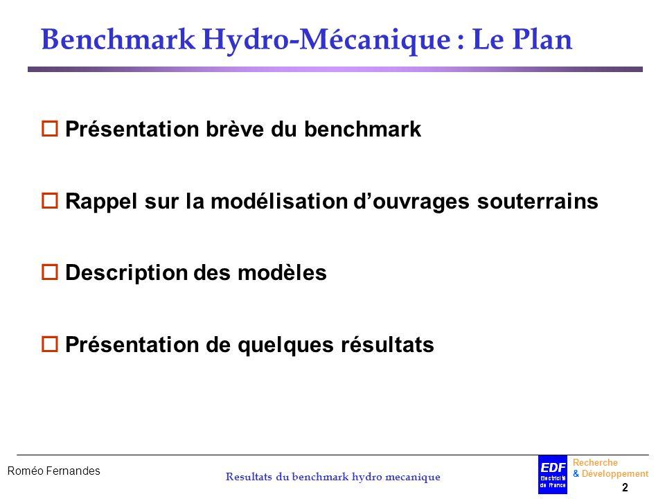 Roméo Fernandes Recherche & Développement 2 Resultats du benchmark hydro mecanique Benchmark Hydro-Mécanique : Le Plan Présentation brève du benchmark