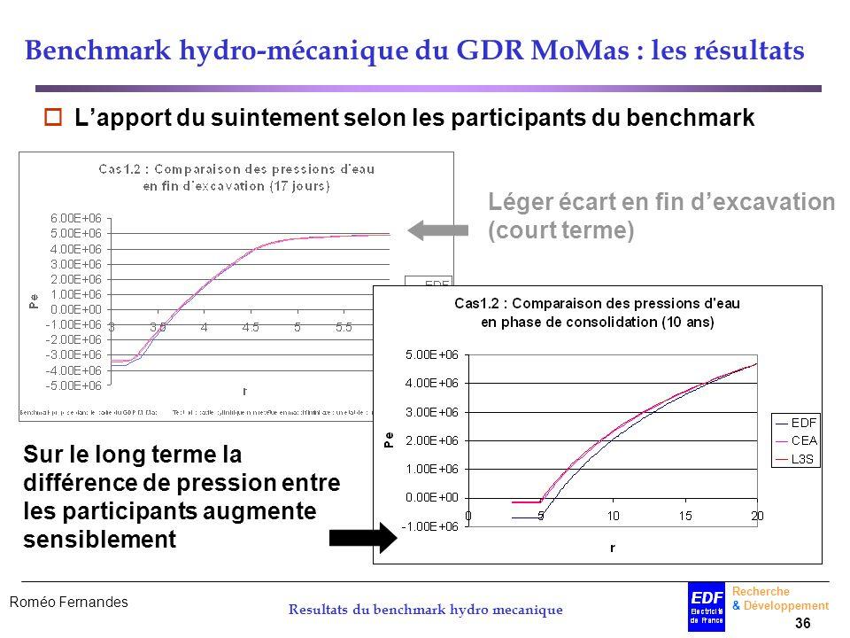 Roméo Fernandes Recherche & Développement 36 Resultats du benchmark hydro mecanique Benchmark hydro-mécanique du GDR MoMas : les résultats Lapport du