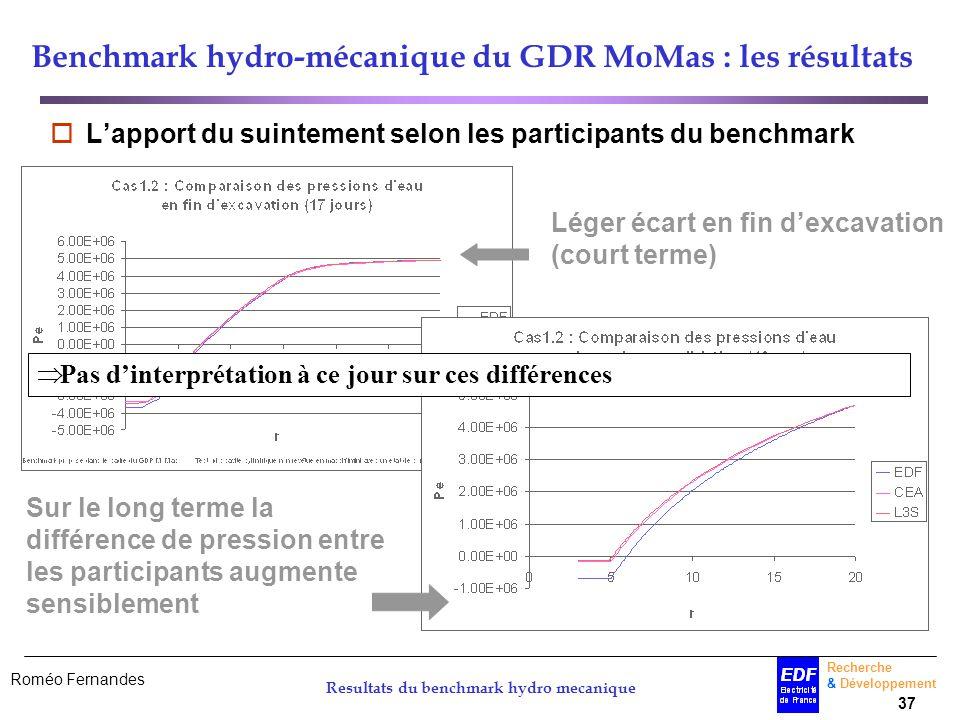 Roméo Fernandes Recherche & Développement 37 Resultats du benchmark hydro mecanique Benchmark hydro-mécanique du GDR MoMas : les résultats Lapport du