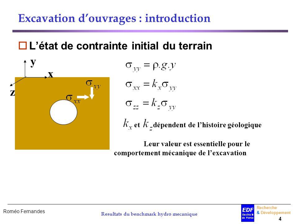 Roméo Fernandes Recherche & Développement 4 Resultats du benchmark hydro mecanique x y z Excavation douvrages : introduction Létat de contrainte initi