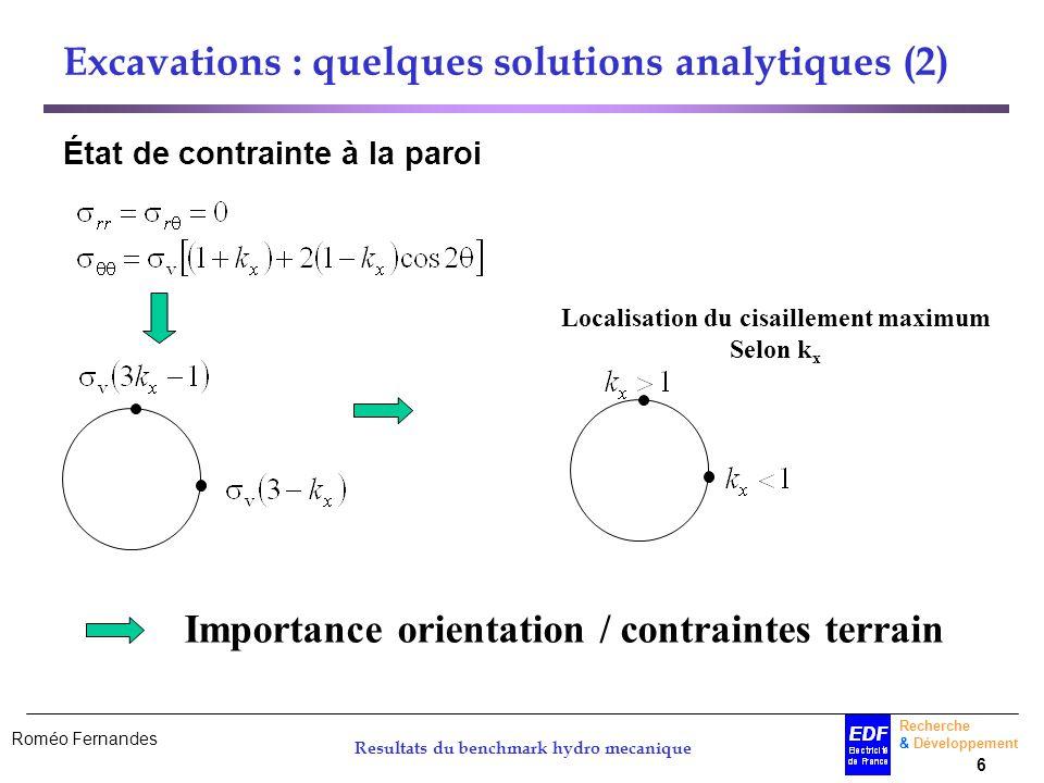 Roméo Fernandes Recherche & Développement 6 Resultats du benchmark hydro mecanique Excavations : quelques solutions analytiques (2) État de contrainte