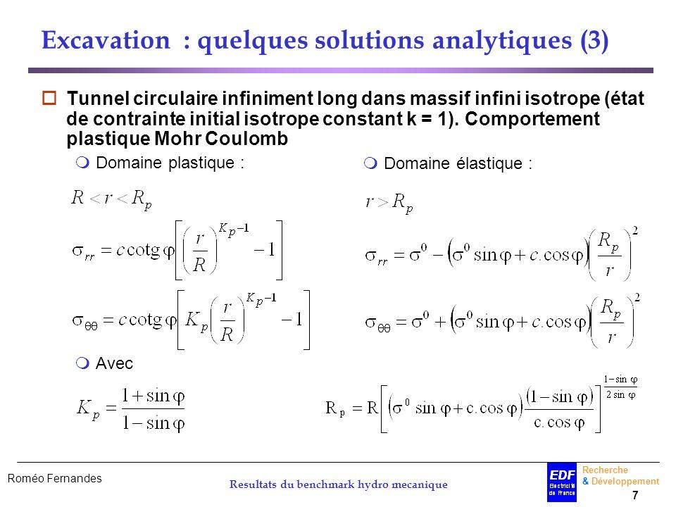 Roméo Fernandes Recherche & Développement 7 Resultats du benchmark hydro mecanique Excavation : quelques solutions analytiques (3) Tunnel circulaire i