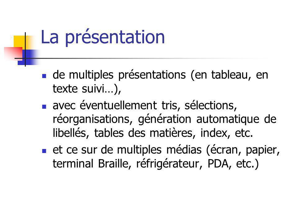 La présentation de multiples présentations (en tableau, en texte suivi…), avec éventuellement tris, sélections, réorganisations, génération automatiqu