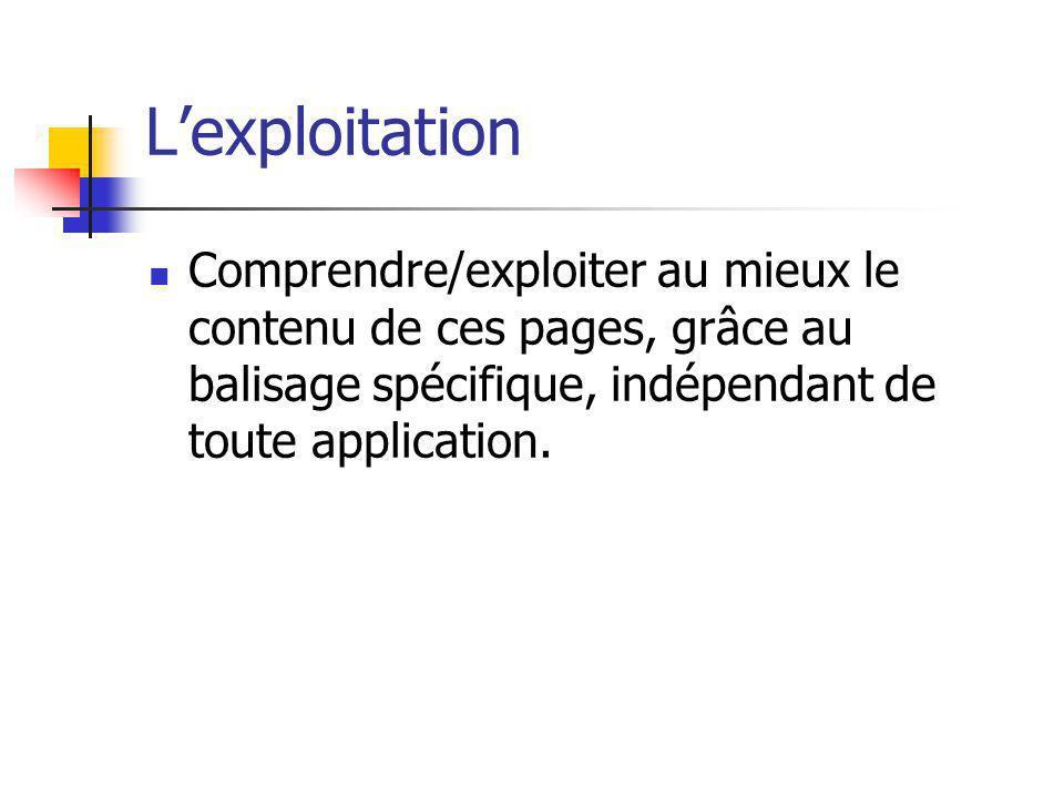 Lexploitation Comprendre/exploiter au mieux le contenu de ces pages, grâce au balisage spécifique, indépendant de toute application.