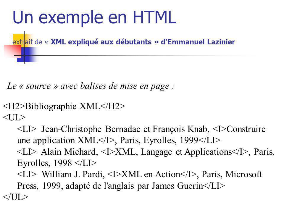 Un exemple en HTML extrait de « XML expliqué aux débutants » dEmmanuel Lazinier Bibliographie XML Jean-Christophe Bernadac et François Knab, Construir