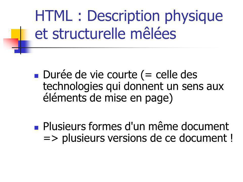 HTML : Description physique et structurelle mêlées Durée de vie courte (= celle des technologies qui donnent un sens aux éléments de mise en page) Plu