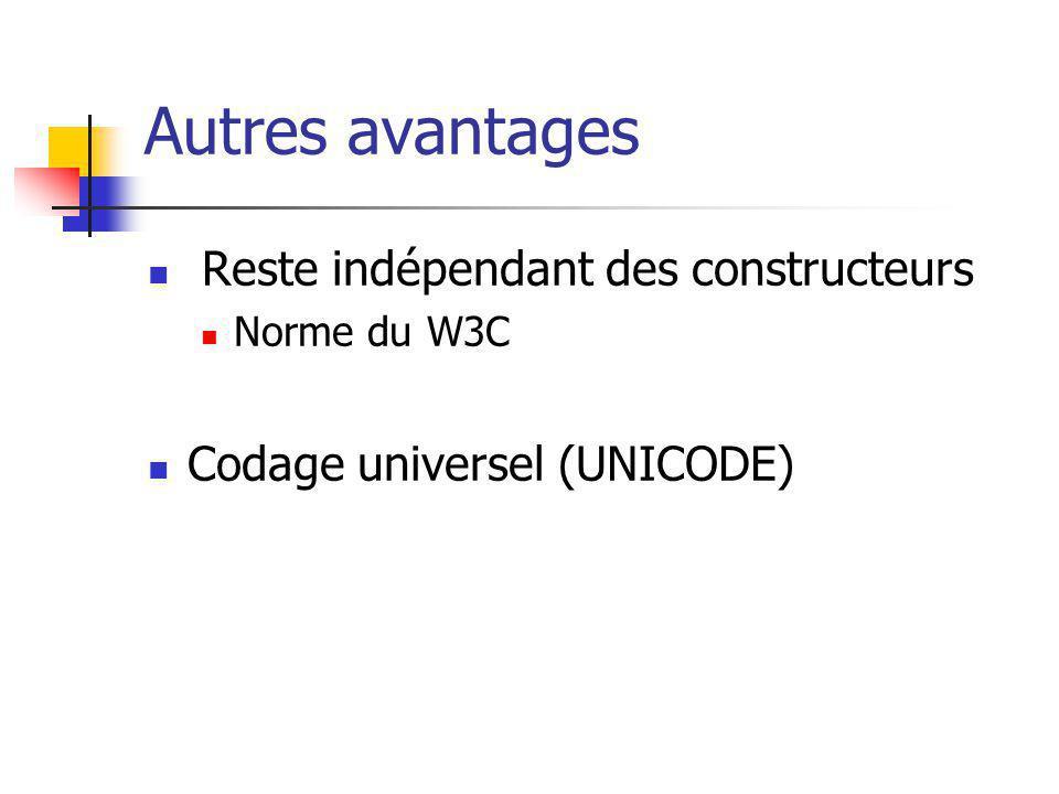 Autres avantages Reste indépendant des constructeurs Norme du W3C Codage universel (UNICODE)